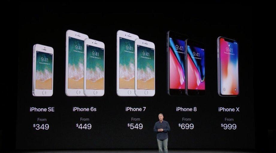 RT @Marino_Pepen: Línea completa de precios de los #iPhone... #iPhoneX #iPhone8 #AppleEvent https://t.co/nAVpI83qRf