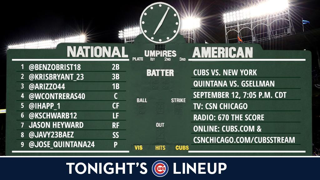 Here is tonight's #Cubs starting lineup against the #Mets.  Game preview: https://t.co/s0qMCFvvMO #SocialMediaNight https://t.co/1O0M2NlJl5