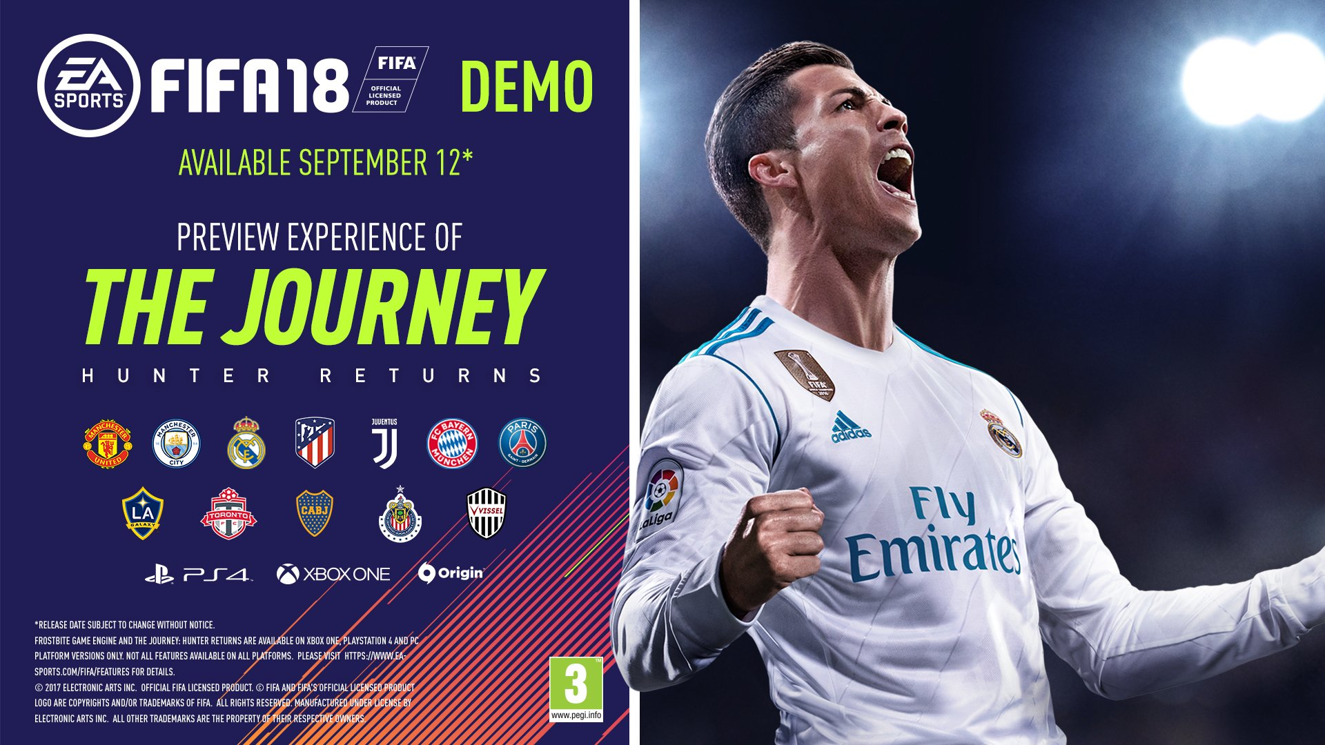 12 clubs, 4 stadiums, 1 @mrAlexHunter. The #FIFA18Demo is out now!  Download �� https://t.co/fL0fx5QjmF #FIFA18 https://t.co/CU4fQbyUHH