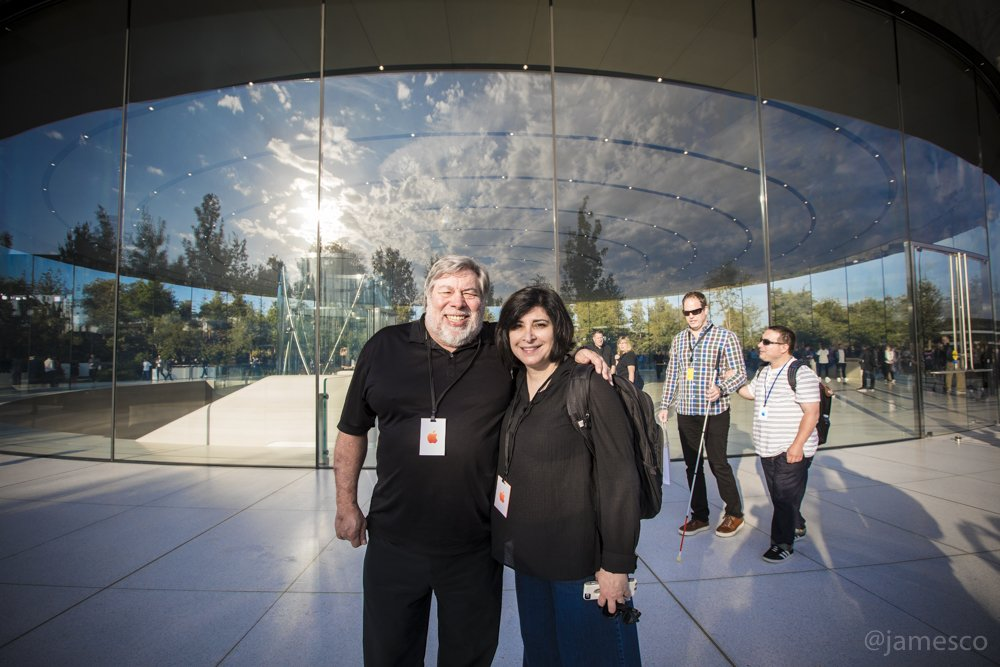 Woz and @techledes outside the Steve Jobs Theater #AppleEvent Join us: https://t.co/sime9aESfA https://t.co/AFlYSw6vi9