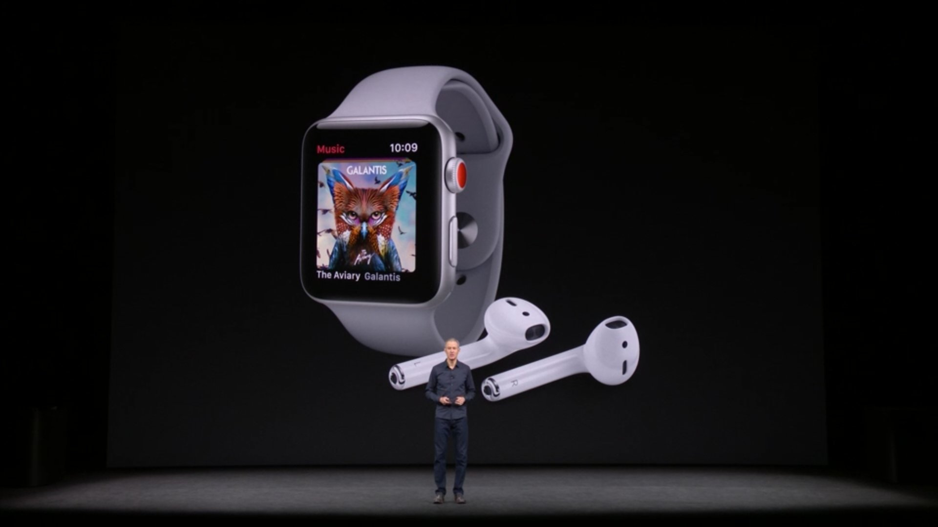 With Apple Watch Series 3 and built in cellular service, you can now use the watch to play music. #AppleEvent https://t.co/IQnKRdkhIQ