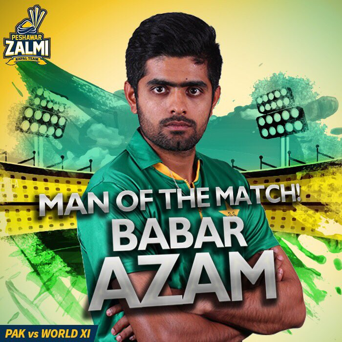 RT @PeshawarZalmi: Congratulations @babarazam258 for his match winning performance!   #PAKvWXI #cricketkihalalala https://t.co/FcozojKKSY