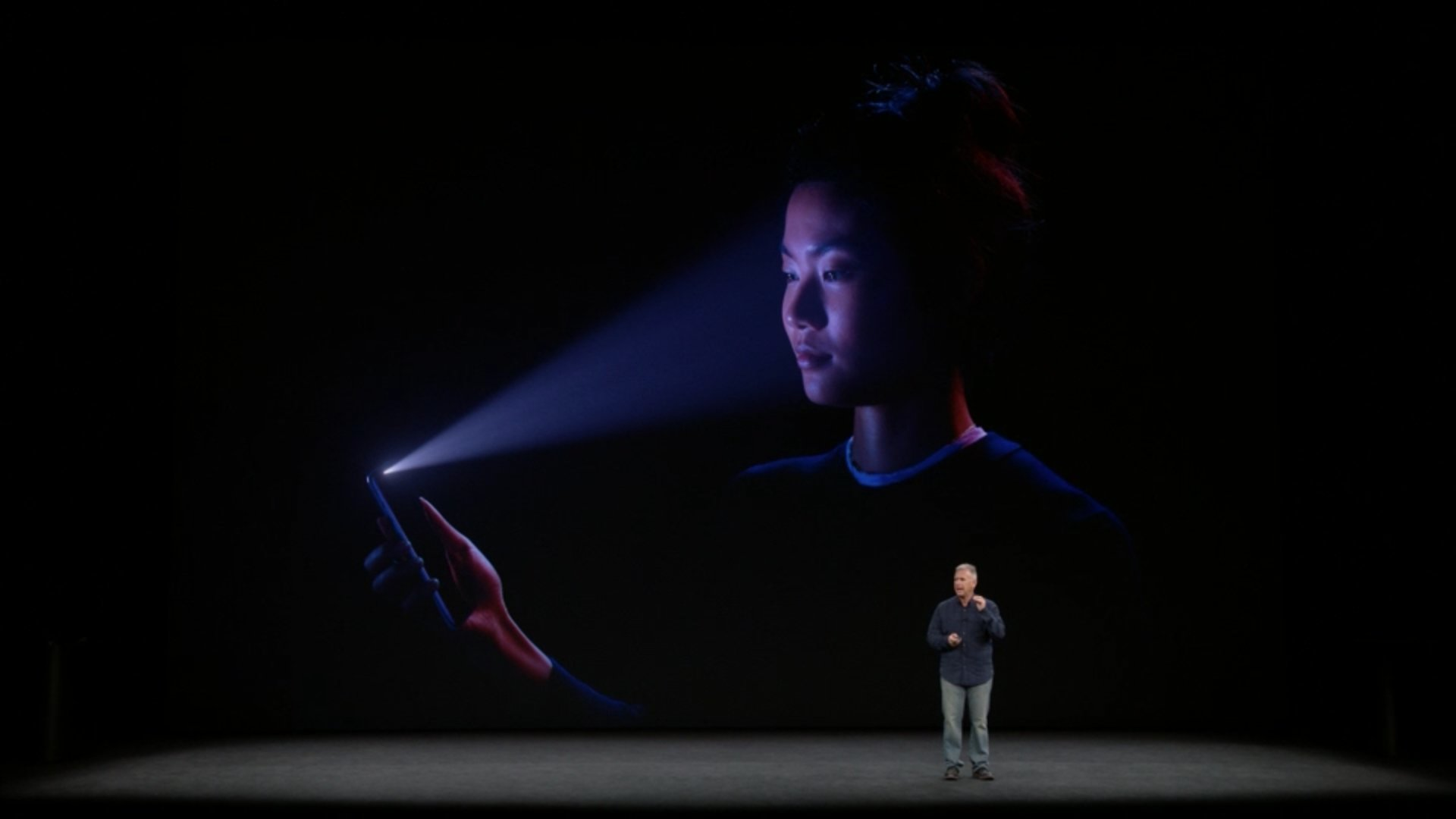 Facial recognition will, of course, work in the dark as well to unlock the iPhone X. #AppleEvent https://t.co/dBC31DOk00
