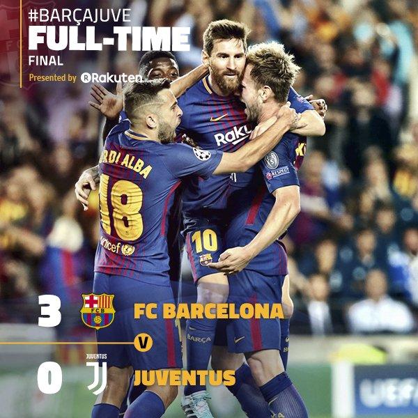 �� Final whistle at Camp Nou! FC Barcelona 3-0 Juventus ⚽️ (Messi x2 and Rakitic) ����-⚪️⚫️ #BarçaJuve #UCL https://t.co/h6k706z0cx
