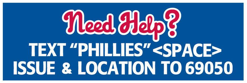 "If you need assistance at any games this series, text ""PHILLIES"" and your issue and location to 69050. https://t.co/Ovi8CzYHJm"