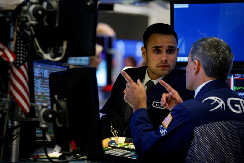 Wall Street ends at record high, led by banks; Apple weighs