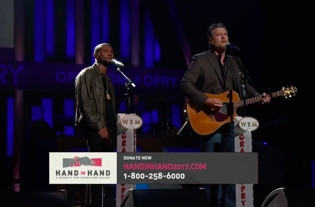 Usher performing with Blake Shelton. #HandInHand https://t.co/3e0qjrDAMt https://t.co/2IrqN65QQt