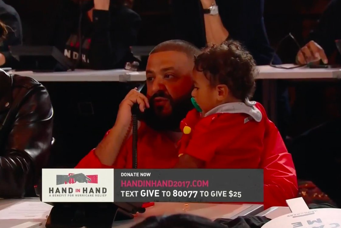.@djkhaled (and Asahd) taking phone call donations: #HandInHand https://t.co/3e0qjrDAMt https://t.co/7sIwuLti7f