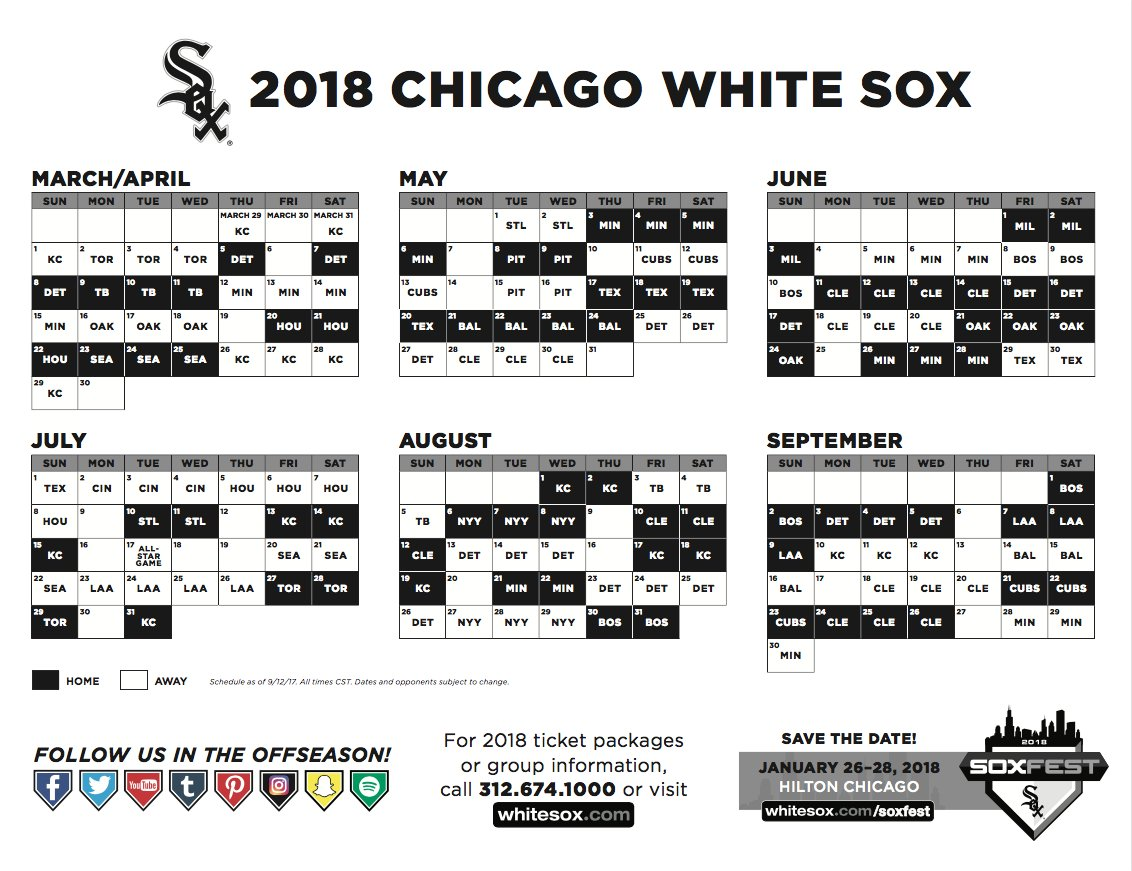 ICYMI: The #WhiteSox have announced their 2018 regular-season schedule: https://t.co/69MPv1PrBu