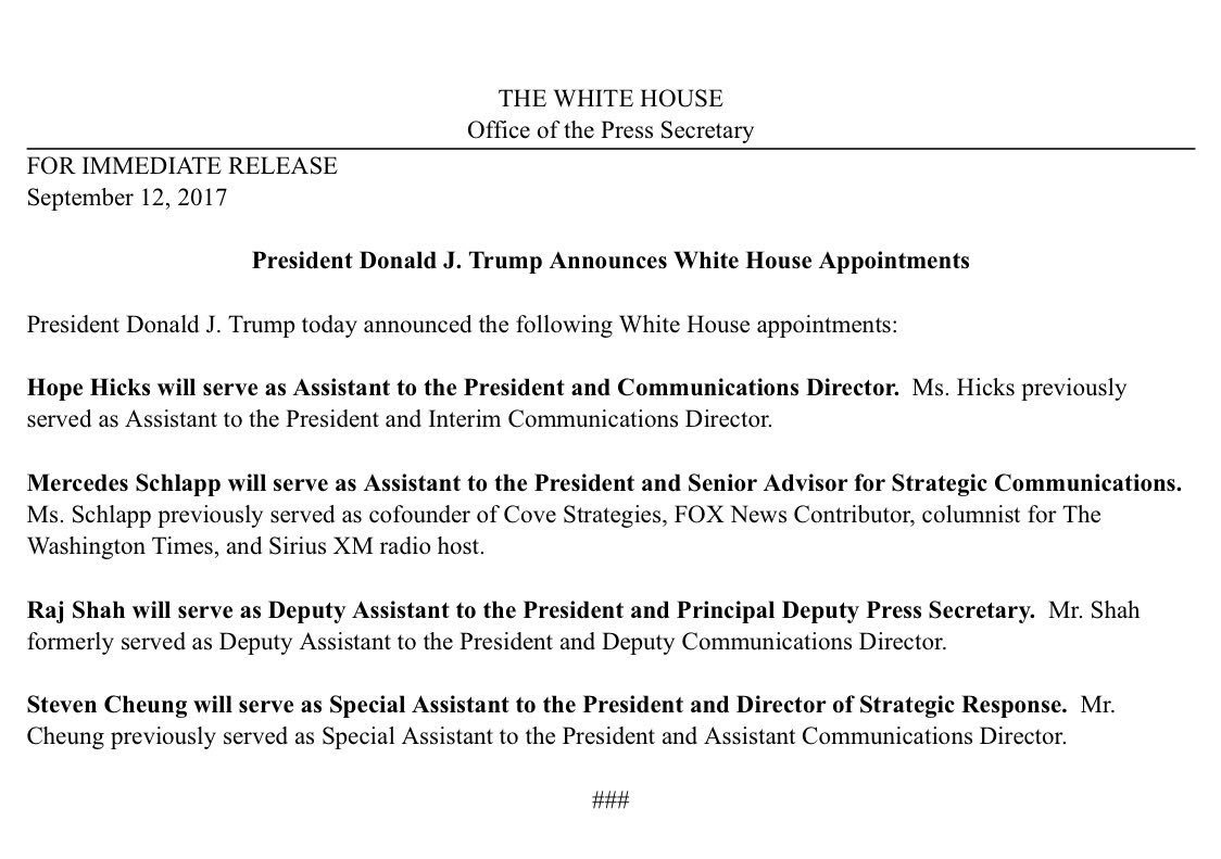 Excited for @RajShah45 & @scheung45 to join WH press team in senior roles https://t.co/eZFdAeVEAp