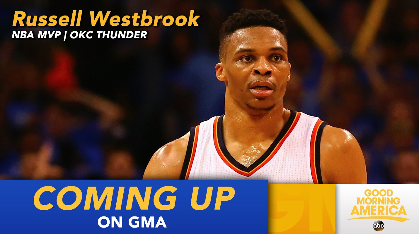 JUST AHEAD ON @GMA: @russwest44, reigning @NBA MVP of the @okcthunder, is LIVE in studio this morning! https://t.co/cs69Fa5GU4