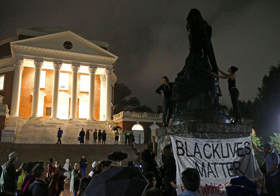 Virginia GOP criticizes 'vandalism' of Jefferson statue at University of Virginia