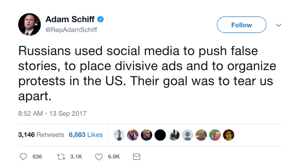 Top Intel Dem: Russia used social media to try to 'tear us apart' https://t.co/7CZbDUYGTa https://t.co/chLUvmvFGV