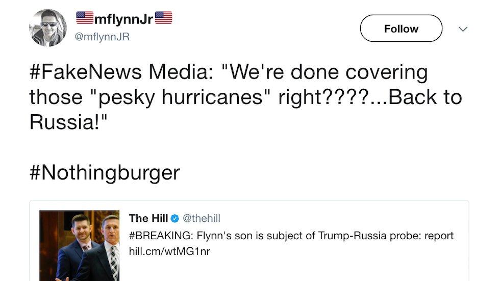 Flynn's son attacks media as 'fake news' over report he's subject in Trump-Russia probe https://t.co/lKCfe9AlKk https://t.co/9oWxMLVsxJ