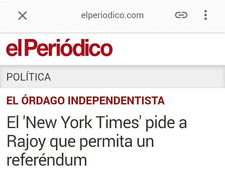 RT @XavierClmr: El New York Times pide a Rajoy que permita un referéndum.  #PuigdemontTV3 #HolaDictadura https://t.co/VHRoVvMNU2