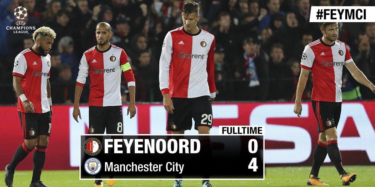 RT @Feyenoord: AFGELOPEN | Een teleurstellende eerste Champions League-avond...  #feymci #UCL https://t.co/2PoX9ZgTUI