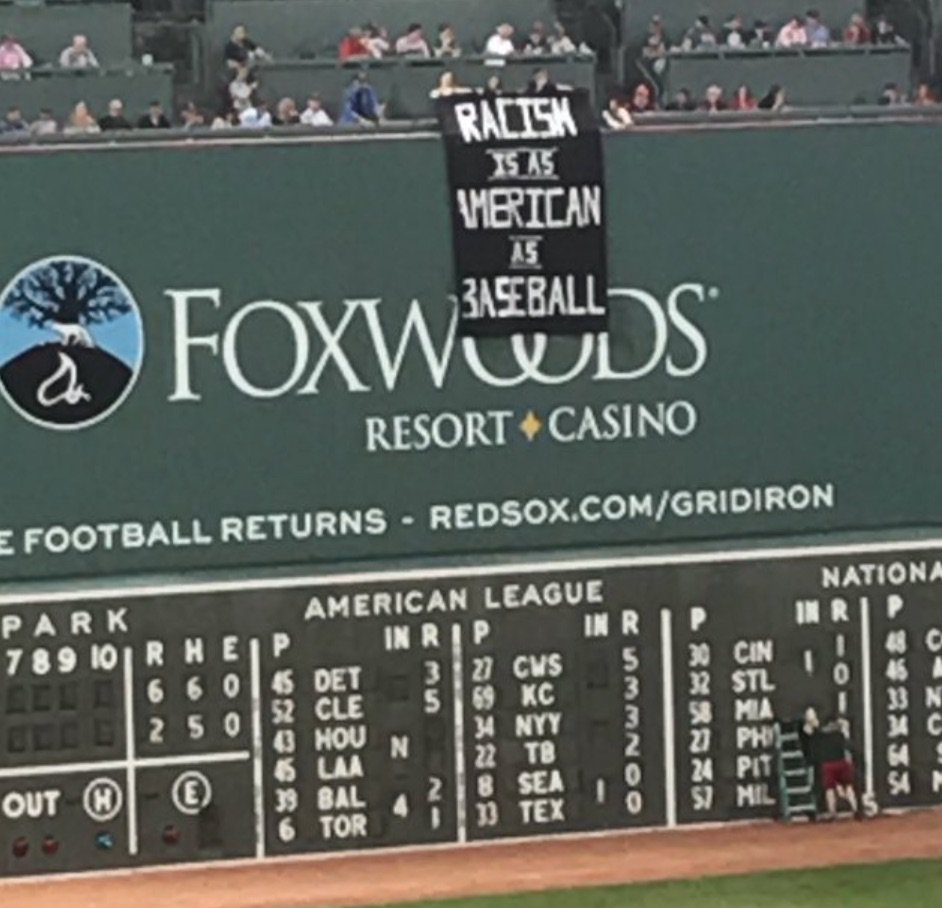 Twitter Reacts to 'Racism is as American as Baseball' Banner at Fenway Park https://t.co/ssbcuih8Hb https://t.co/3xTJJmtCno