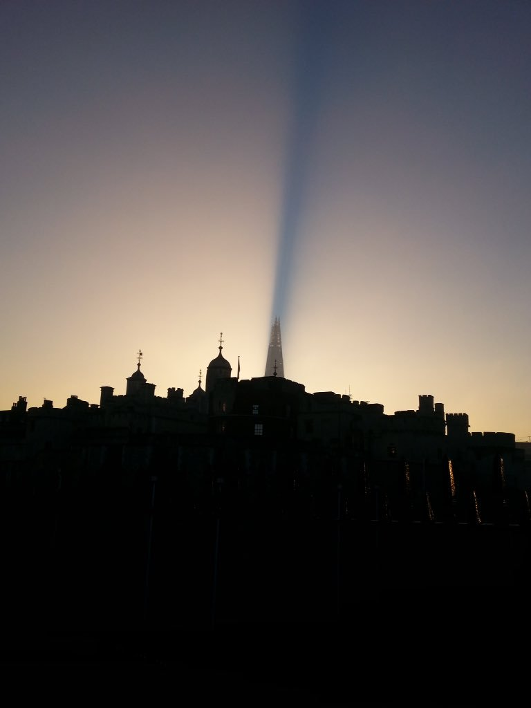 Happy birthday, Renzo Piano. Shard night view through the Tower of London.