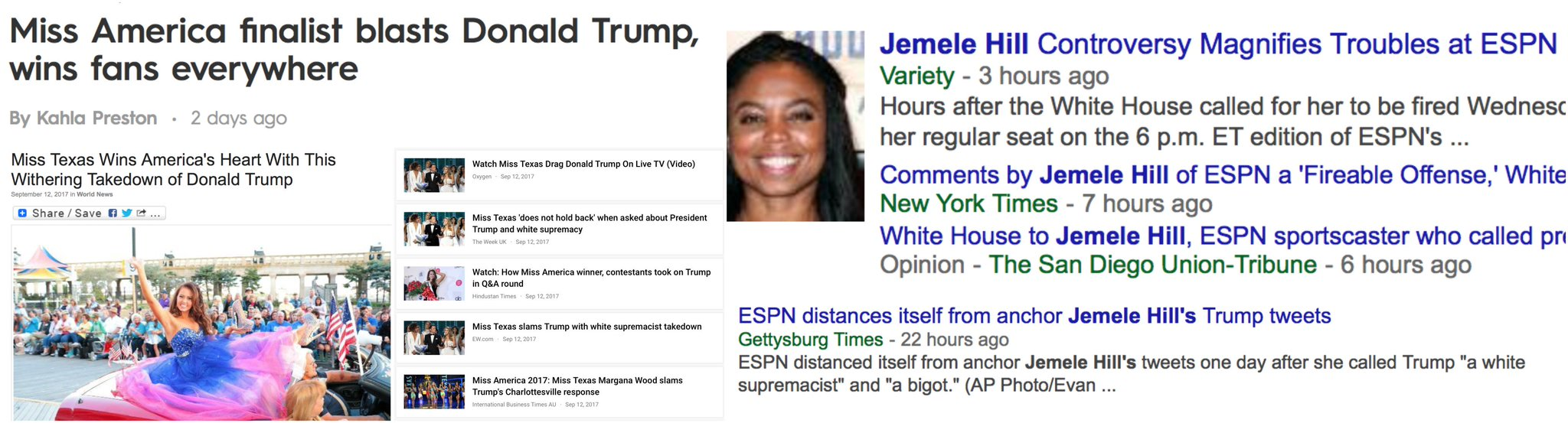 ...these events happened within 48 hrs of each other.   (L: Miss Texas; R: Jemele Hill) https://t.co/VvmuCDjGpa