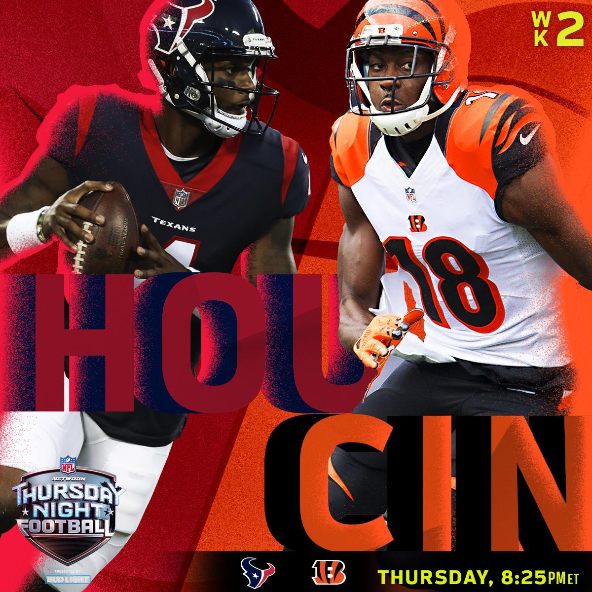 Thursday Night Football is BACK. @HoustonTexans. @Bengals.  Only on @nflnetwork (8:25pm ET). #TNF #HOUvsCIN https://t.co/QgIMCiTJiO
