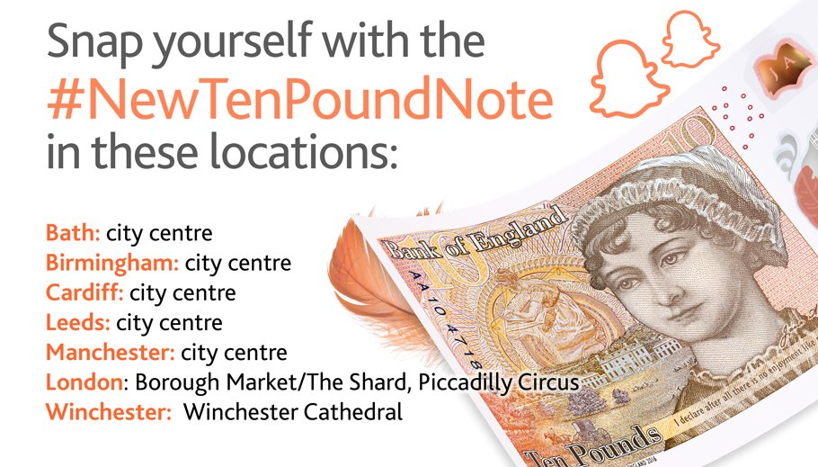 Take a snap with the #NewTenPoundNote Snapchat filter in cities around the UK. https://t.co/Xi7uahlgvl
