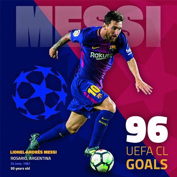 �� Leo #Messi ��  9️⃣6️⃣  #UCL G⚽️ALS ����  #ForçaBarça https://t.co/ZnK7sYDSpN