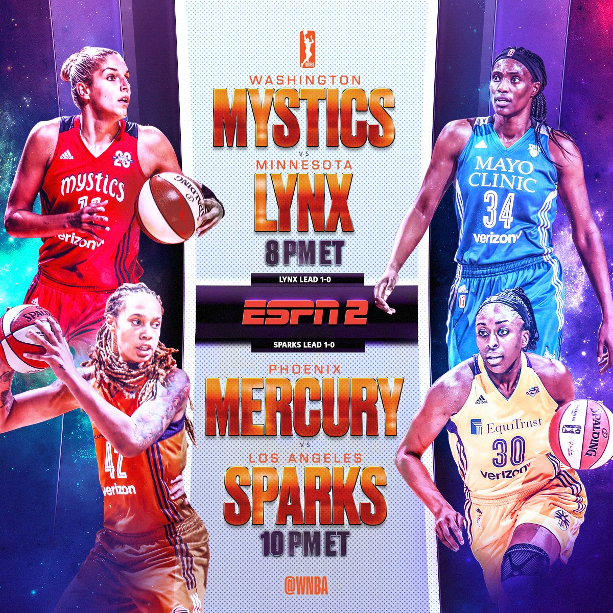 Game 2 of the best-of-5 Semifinals... tonight on ESPN2! #WNBAPlayoffs   » https://t.co/2hvOVzwuEh https://t.co/TQvlB5oBB4