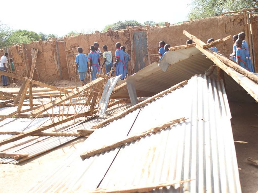 Baringo pupils forced to learn under trees after wind blows off roofs
