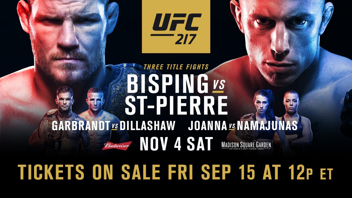 #UFC217 tickets go on sale to the public FRIDAY at 12pmET!  �� https://t.co/SQYtbvOKSQ https://t.co/mxVmjLW8fn