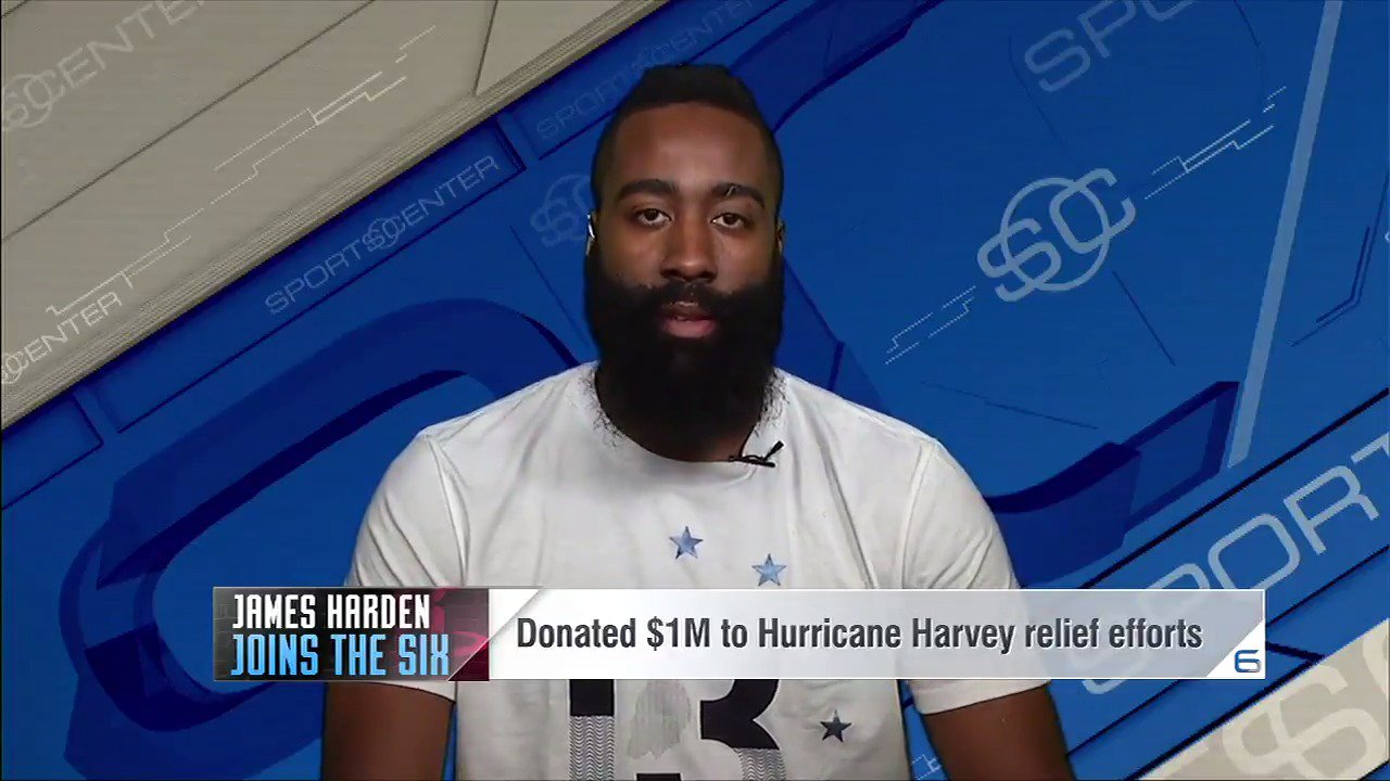.@JHarden13 showing H-Town the love. #HoustonStrong ��  �� » @SportsCenter https://t.co/n9WOjxypB5