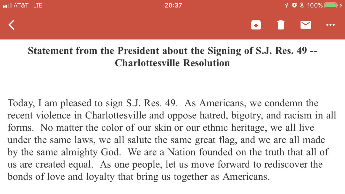 Statement from the President about the Signing of S.J. Res. 49 -- Charlottesville Resolution https://t.co/VGQDD1Lodl