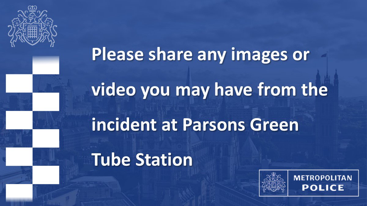 Anyone with images from the scene at #ParsonsGreen tube station is asked to upload them to https://t.co/l9dn1FQr7B https://t.co/6ZzZBnlNG6