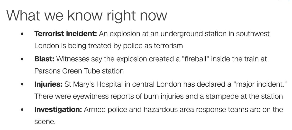 London police are treating Parsons Green tube incident as terrorism -- latest updates here: