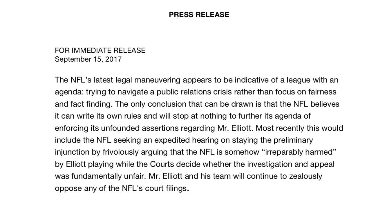 A response from #Cowboys RB Zeke Elliott's legal team after the @NFL filed its appeal to the 5th Circuit today https://t.co/dKxQgmBAGV