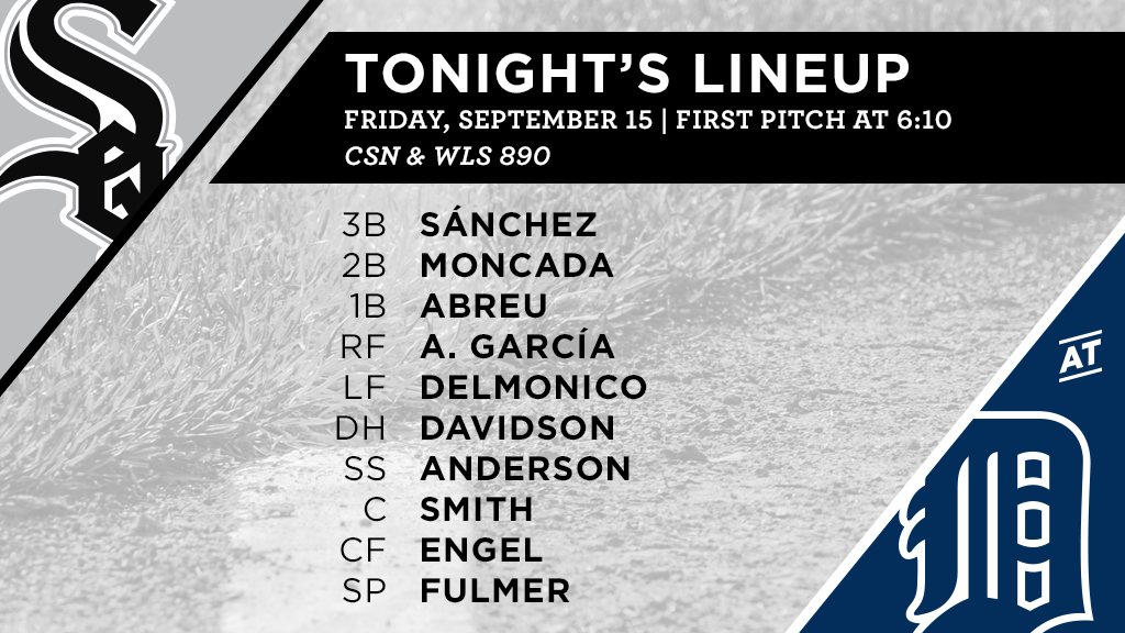 Tonight's #SoxGameDay starters: https://t.co/tVzGTC4ioB