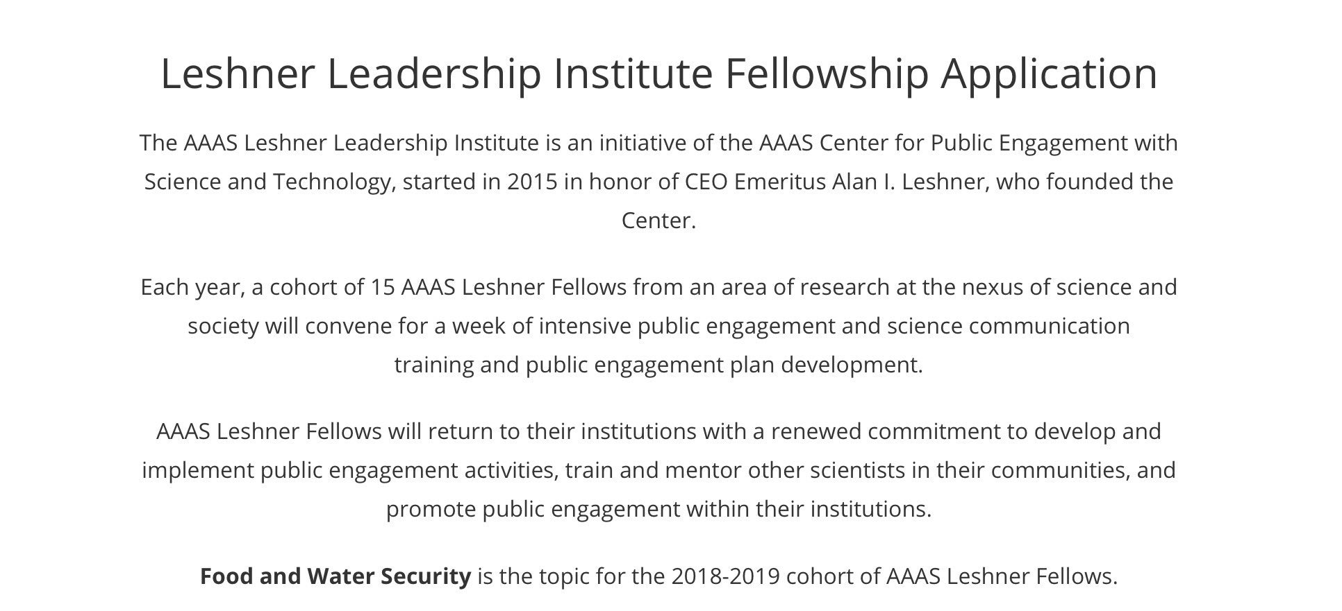 Applications for leadership institute on food & water security due 11/1/17 via @aaas #scipolicy #sciadvocacy #scicomm https://t.co/S71tIqgIIK