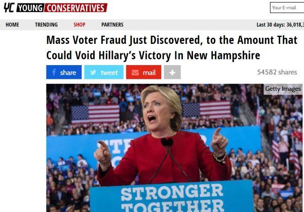 NEW Website passes along dubious claims about fraudulent New Hampshire votes. False