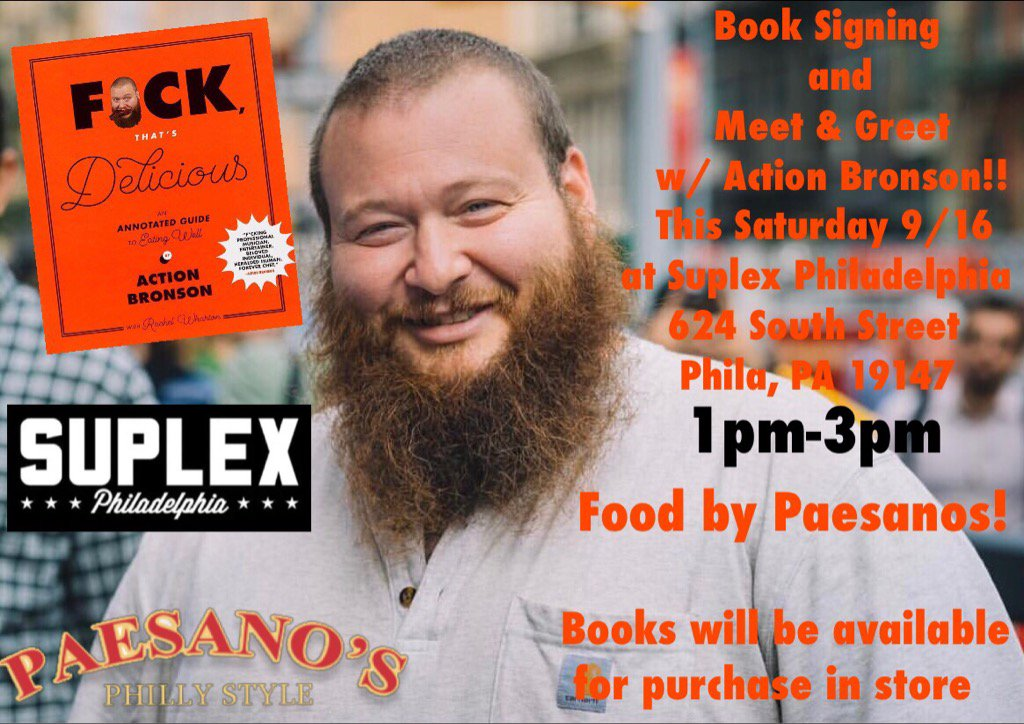 PHILLY TMRW ILL BE SIGNING BOOKS AND SERVING UP SOME PAESANOS SANDWICHES FIRST COME 1-3pm @SuplexPhilly THEN RAP https://t.co/gYBG3in6Aw