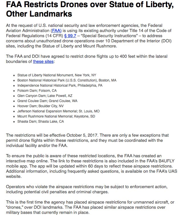 Inbox: FAA Restricts Drones over Statue of Liberty, Other Landmarks https://t.co/H8yimHm0AU