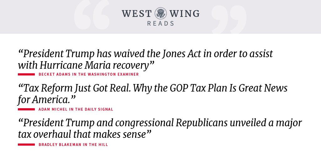 Here is what the West Wing is reading today: https://t.co/3OyJ8chCZ5 https://t.co/SNuLf2nsNG