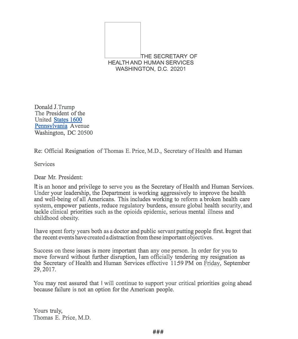 The White House releases the Price resignation letter : https://t.co/CCCvfdXiUV