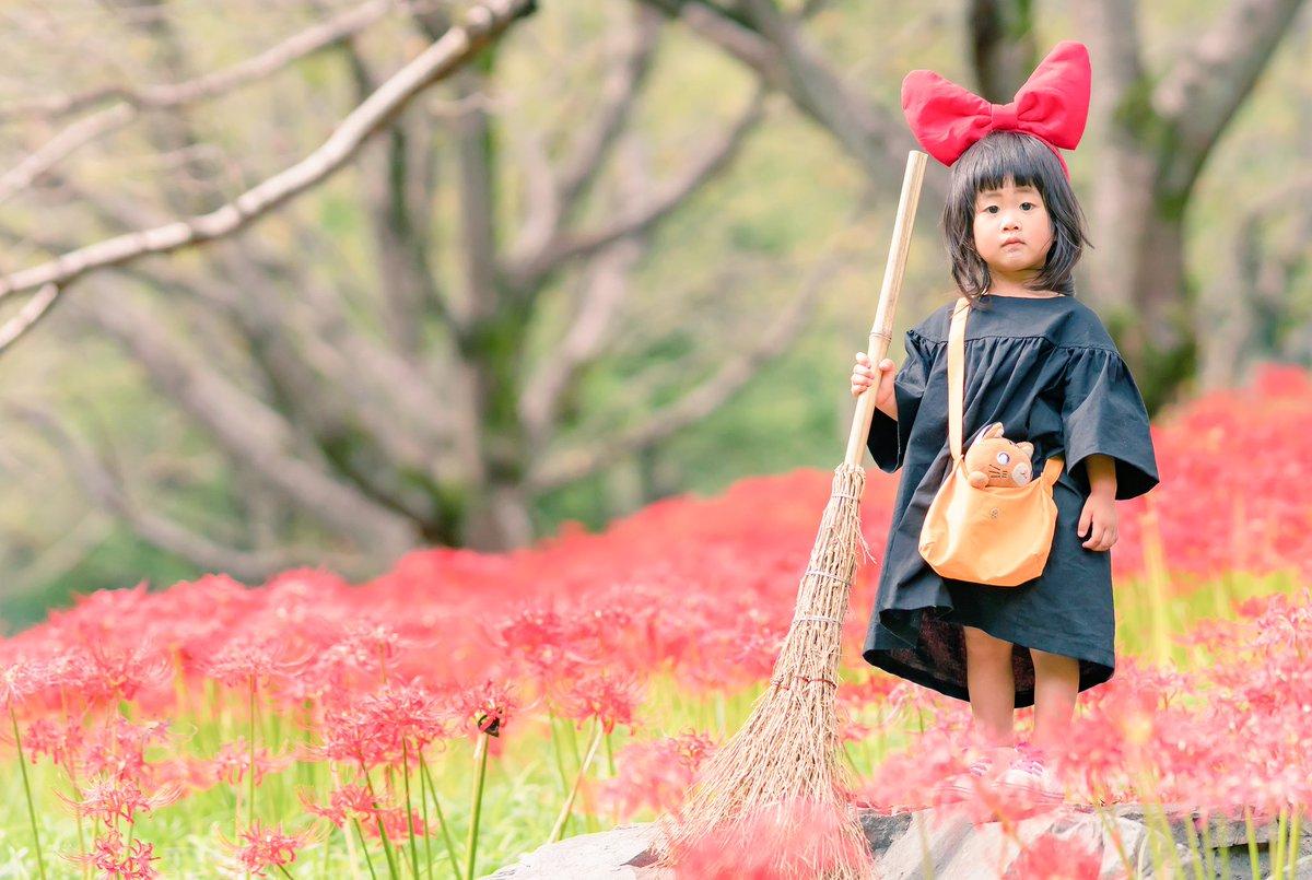 やっぱり花より娘😇魔女の宅急便ごっこで遊んでみました🙌🏻