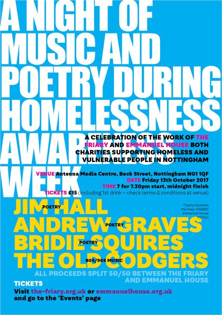 test Twitter Media - Tickets for #Music & #Poetry Evening 13/10/17 at @Antenna_UK in aid of @emmanuel_house_ & @theFriary88 #Nottingham https://t.co/XXH6vbnJkL https://t.co/26HqjUwK9d