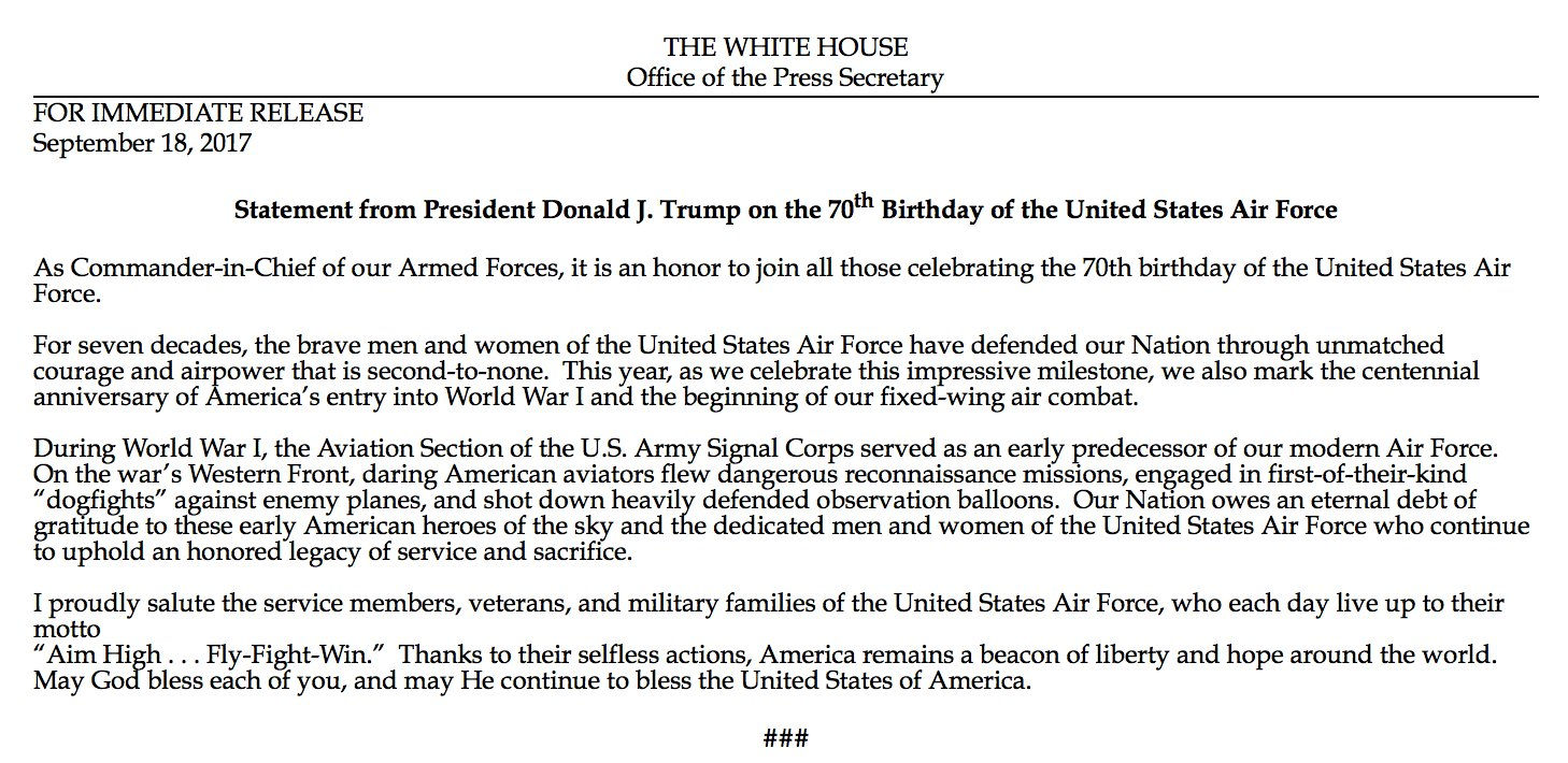 Pres. Trump celebrates 'honored legacy of service and sacrifice' of US Air Force on its 70th birthday. https://t.co/gaykwpgC2q
