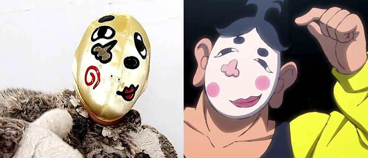「しょんないTV」のザ・ファニーと「タイガーマスクW」のふくわらマスク。テレビに登場したのはザ・ファニーの方がズッと先だ