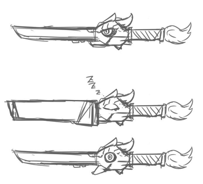 しゃべる魔剣をカミカゼの相棒にしたいという願望。熱いよね喋る武器。キルラキルの鮮血みたいな。というか影響受けすぎ