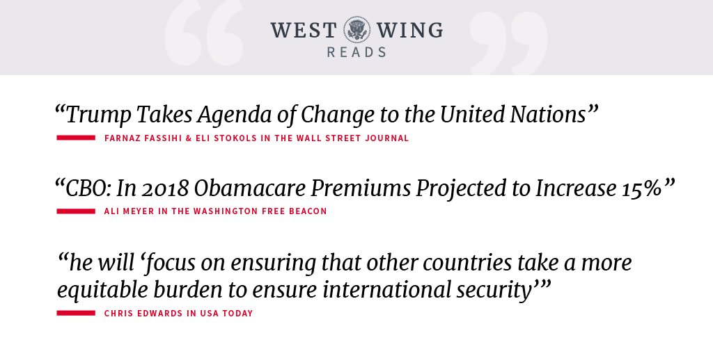 Take a look at what the West Wing staff is reading today: https://t.co/5WtMxSAyTA https://t.co/G1gI8Eu8F9