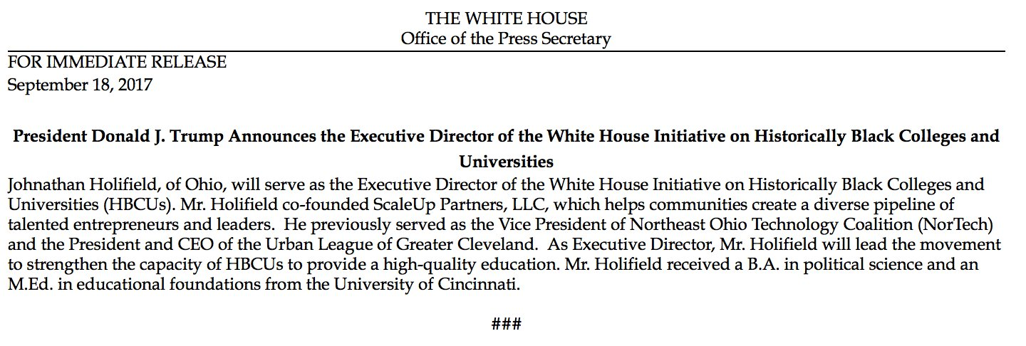 NEW: White House names Johnathan Holifield as Executive Director of Initiative on HBCUs https://t.co/aa7xWEncZ1 https://t.co/uJs61MPvDU