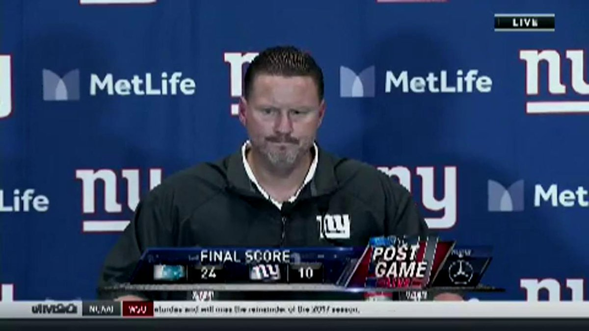 WATCH: Coach Ben McAdoo's postgame reactions following Monday night's loss https://t.co/sQF0DdDfgr