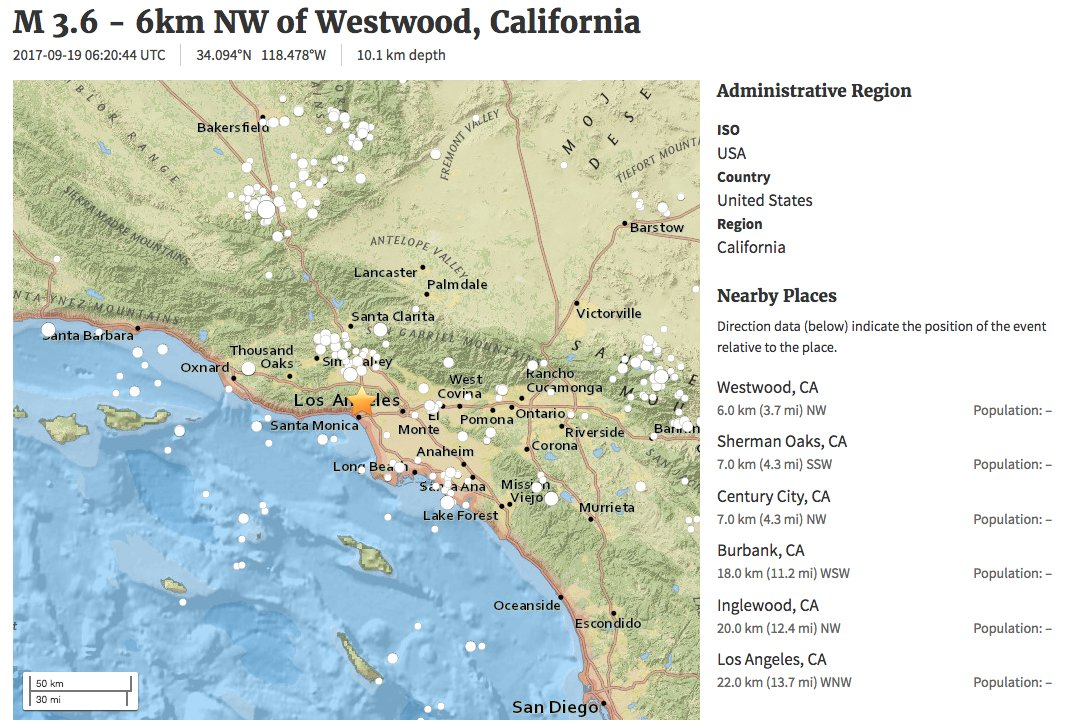 LA hit by earthquake: 3.6 magn earthquake